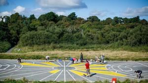 Volunteers working on the colourful court in Arklow.