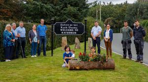Cllr Pat Kennedy with residents of Ballyteigue at the unveiling of the new 'Welcome to Rathdrum' sign. Photo; Paul Messitt.