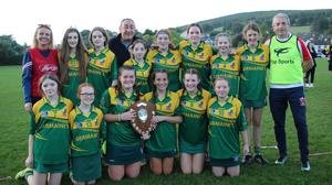 The Knockananna under-14 camogie team who defeated Avoca in the 'B' final in Aughrim.