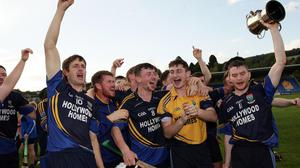 Western Gaels players celebrate after winning the Junior 'A' hurling championship crown.