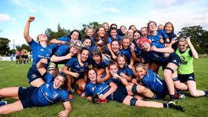 Leinster players celebrate after the PwC U18 Women's Interprovincial Championship Round 3 match between Leinster and Munster at MU Barnhall in Leixlip, Kildare.