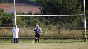 Jimmy Kelly standing guard in the Knockananna goals during the Junior hurling league clash against St Patrick's.