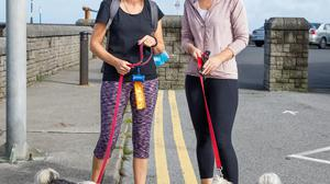 Jenieve Aherne with Cookie and Jenny Clarke with Daisy out and about in Wicklow town.