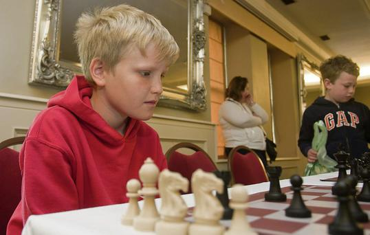Tom Crossingham at the Wicklow Novice chess tournament.