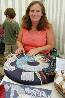 Laura Oxley puts the finishing touches to her craft piece