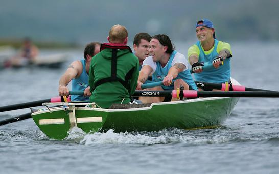 Mark Nicholson, George O'Brien, Shay Dunne and Michael O'Toole in action for Vartry Rowing Club at The All Ireland Coastal Rowing Championships 2014, held in Lough Currane, Waterville, Co. Kerry