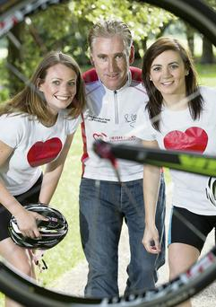 Sean Kelly was back in the saddle calling for 60 cycling enthusiasts to join him on the Irish Heart Foundation's Tour of the Midlands with help from Edel Byrne (left) and Ellen McMeel from the charity's health promotion team.