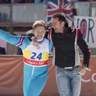 Taron Egerton (left) and Hugh Jackman in Eddie The Eagle