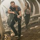 Tom Hiddleston as James Conrad and Brie Larson as Mason Weaver in Kong: Skull Island