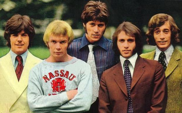 The Bee Gees in 1968 when the Gibb brothers were joined in the lineup by drummer Colin Petersen and guitarist Vince Melouney