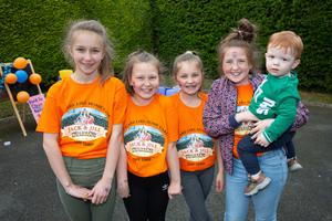 Sophia Siklody, Saoirse Goff, Lauren O'Brien, Abbie Cooke and Conor Keddy at the Jack & Jill Celebration Day at Little Green Giants creche in Kilcoole