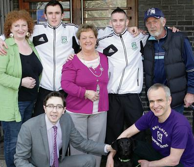Taking part in last year's East Coast FM coffee morning were Elly Fairbairn, Kevin Knight, Marie Greene, Kieran Marty Walters, Pat McManus; front row: Simon Harris TD, Finzi and Pete Wederburn at the Little Bray Family Resource Centre.