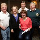 Sean Olohan, Irene Winters, quizmaster Una Breslin, Maurice Corr and Santiago Balbontin at the Wicklow Lions Table Quiz at Doyles for Rathnew Players and St Ernan's and St Joseph's Schools
