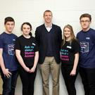 Launch of On the Ball Banking at Colaiste Chraobh Abhann with Henry Shefflin: Henry Shefflin with the banking team Molly Hayes, Aaron O'Brien, Roisin Connaughton, Jade Byrne, Stephen Hunt, Luke Byrne