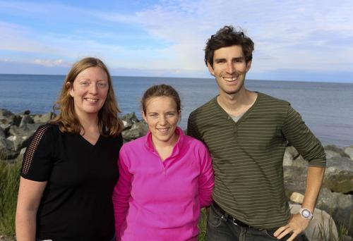 Liz Duggan, Jessica Lamb and David Power at the 20th Anniversary of the Healy/O'Kane Wicklow swimming club open sea race