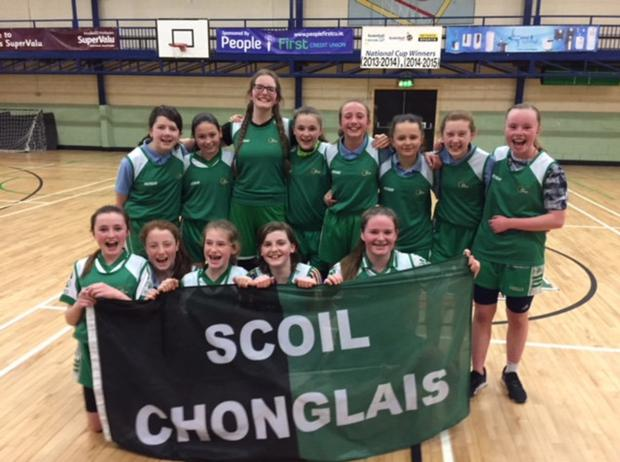 The first year Scoil Chonglais girls' basketball team who travelled to Roscommon for the all-Ireland playoffs which were held in Abbey Community College in Boyle