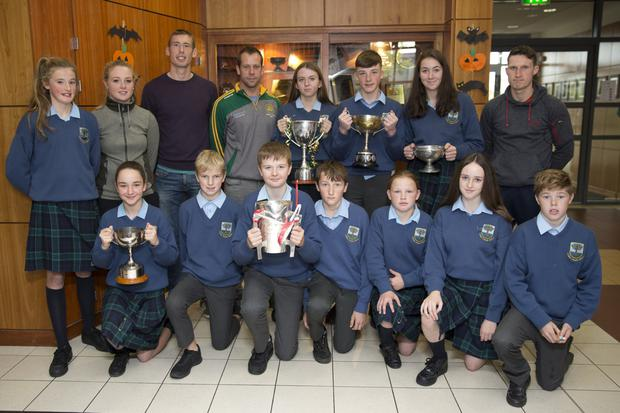 At a recent event to celebrate GAA in Coláiste Chraobh Abhann and Kilcoole were school team captains and sports star teachers with invited guests: (back) Eva Doyle, Sarah Miley, county player Ronan Keddy, Peter O'Brien (Kilcoole GAA), Chloe Byrne, John Paul Nolan, Eve Leacy, Daniel Staunton, (front) Kate Wilson, Chase Scully, Seamus D'Arcy, Ryan Clarke, Bridget Cash, Alyssia Larkin and Christy Connors