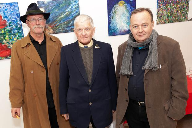 Andrew Manson, CEO Arklow Visual Arts Gallery with David Owens and Patrick Power at the Nadia Ramoutar art exhibition in the gallery