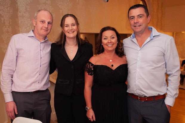 Tom Glynn and Andrea Walker with Una and Andy Doyle at the Avoca GAA/Camogie Club dinner dance