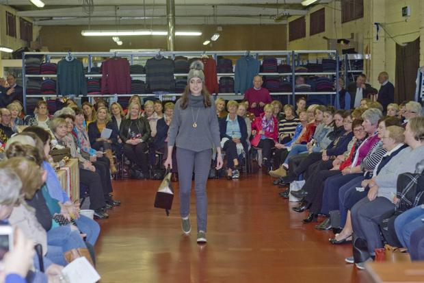 Maeve Plant modelling at the fashion show in Kaideen Knitwear in aid of the Baltinglass Hospital Patients Comfort Fund