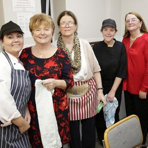 Sarah Rafter, Doreen McGettigan, Megan Russell, Liz Dunne Susan Martin and Blathnaid Doyle at the senior citizens party in St Bridget's Community Hall, Rathnew