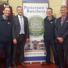Kaideen Knitwear recently hosted a fashion show in association with Patterson Butchers. A total of €2,610 was raised for the Baltinglass Hospital Patients Comfort Fund. From left: Derek Patterson, Niall Doogue, Damien Patterson and Brendan Doogue