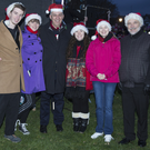 Pictured at the Greystones Christmas lights switch on was Whale Theatre owner Ross McParland with Classic Harmony members John, Emily, Orla, Rebecca and Frank Kelly