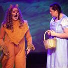 Action from the production by transition year students at Dominican College of 'The Wizard of Oz': from left - Sophie Porter as the Lion, Sorcha Higgins as Dorothy and Tianne Kelly as Toto