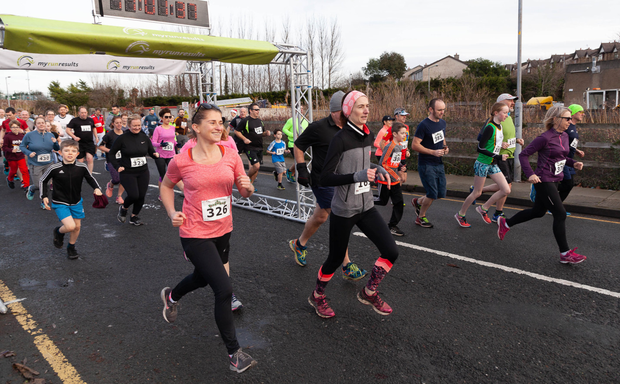 Runners set off at the start of the Streets of Wicklow 5K Road Race