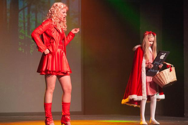 Action from the pantomime 'Snow White & Babes in the Wood' in Coral Leisure Centre, Arklow: Ciara Spellman (left) as Red's Mother and Holly Prestage as Little Red Riding Hood
