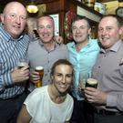 John Corroy, Mick Broderick, Brendan McGarr, David Richardson and Jess Brennan enjoying their night out at the fundraiser in Hennessy's in aid of Blessington and District Senior Citizens