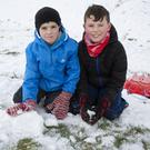 Jack Higgins and Oisín Donnellan were outplaying in the snow at the upper dam at the Vartry Reservoir