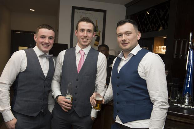 Brian Miley, Jack Miley and Steven Cahill at the Valleymount GAA dinner dance in the Tulfarris Hotel