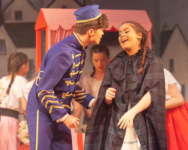 Action from Roundwood Variety Group's production of 'Cinderella': Marc Brady as Buttons and Lucy Shortt as Cinderella