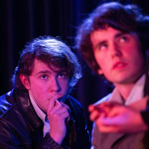 On stage during Kilmac Youth Drama's production of 'Soldier, Smoker, Lipstick, Joker' at the Whale Theatre Greystones were Jasper Brezina Conniffe as Smoker and Harvey Brezina as Soldier