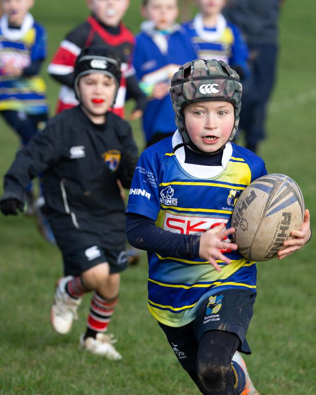 Will Phelan makes a break during the blitz at Rathdrum Rugby Club