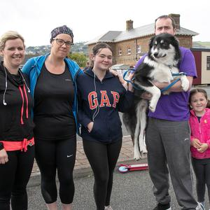 Yvonne Conyard, Jillian Kelly, Grace Dowling, Karl Kelly (with Marley), Chole and Connor Kelly taking part in the RNLI Wicklow Fun Run in Wicklow town