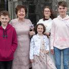 Ellen Kennedy who received the sacrament of Confirmation at St Patricks CC, Kilcashel, Avoca, with her brothers Joel and Ben sisters Beth and granny Pauline Fleming