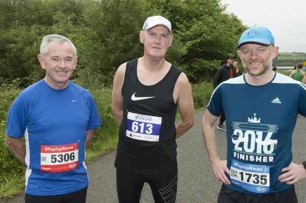 Joe Haugh, Stephen Willloughby and Conor Kenny taking part in the Coimin Greenway 5k in aid of Blessington AFC