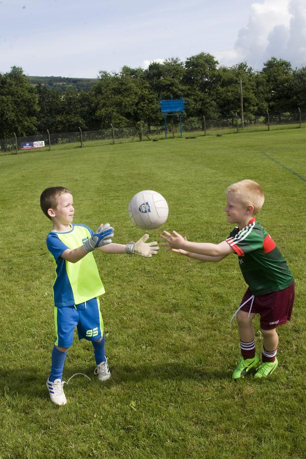 Adam Byrne and Paudie Weafer in action at the Kellogg's Cúl Camp at Shillelagh GAA club grounds
