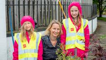 Nicola Arthur with her girls Daniela and Sofia at Delgany Tidy Towns
