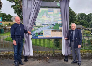 Local historian Jerry Cassidy and Paddy Behan officially unveiled the new Heritage Interpretative Panel in Shillelagh on Friday evening