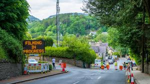 Out & About Enniskerry. A tight private security and Garda cordon around Enniskerry as filming of the new Disney movie takes place in the village
