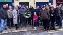 Deputy John Brady (centre) at the commemoration for Séamus O'Brien held in Rathdrum