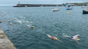 Swimmers taking part in the senior races on Sunday.