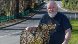 Pat Reid with one of the shamrocks created for the workshop