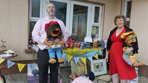 James Murphy and Sylvia Scanlon at the Easter Egg appeal table at the home of James Murphy, Oulartleigh, Glenbrien, Co Wexford on Sunday morning