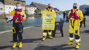 Stephen Kenny, Graham Fitzgerald and Gerard Kennedy from Wicklow RNLI at the launch of Darkness into Light in aid of Pieta House