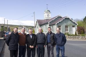 Committee members of the Shillelagh People's Property Company Lar Behan, Peter Houlihan, Tommy Murphy, Gerry Cassidy, Darragh Gregan and Joe Dolan outside Shillelagh Courthouse