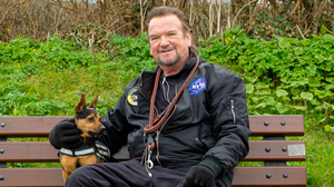 Ken Doyle with his dog, Rosco. Photos by Leigh Anderson